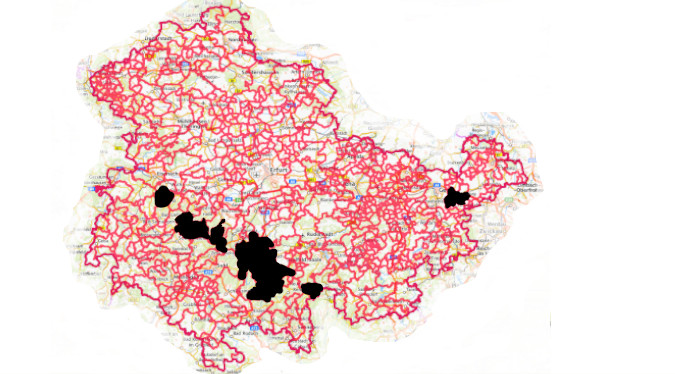 Ausgewiesene Radonvorsorgegebiete in Sachsen