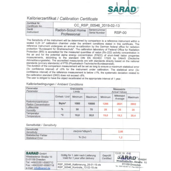 SARAD Factory calibration for Radon Scout