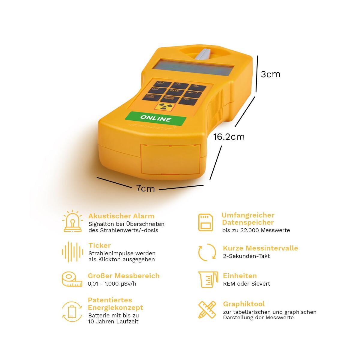 gamma scout online geigerz hler radioaktivit t messen 498 00. Black Bedroom Furniture Sets. Home Design Ideas